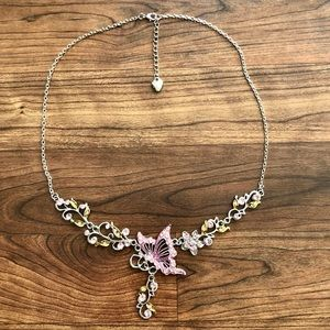 Betsey Johnson Pink Butterfly Statement Necklace ✨